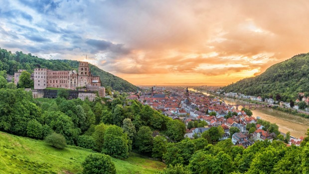 City of Heidelberg at sunset, Germany.