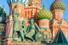 Moscow's Red Square with one of its many monuments and St Basil's Cathedral.
