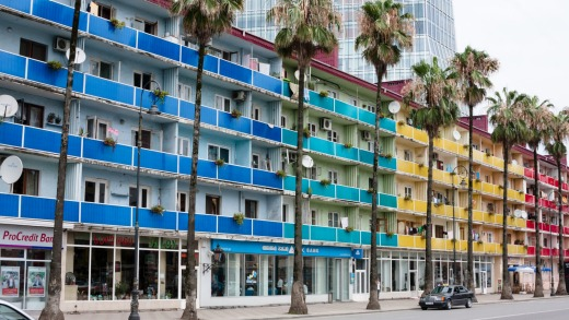 Colourful old apartments on the main street to Batumi Pier.