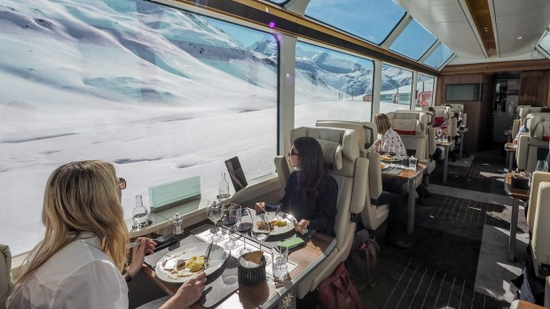 Dining in Excellence Class on the Glacier Express, Switzerland.