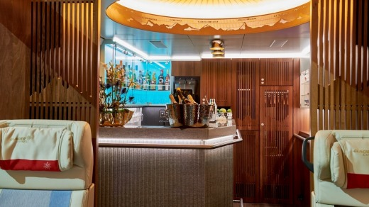 The bar in Excellence Class on the Glacier Express, Switzerland.