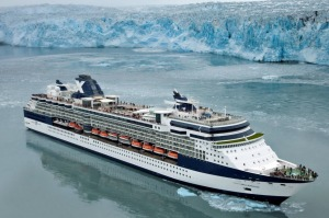 Celebrity Millennium at the Hubbard Glacier, which crosses from eastern Alaska into the Yukon, Canada.