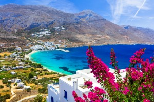 Amorgos is the postcard Greece of bleached white houses, azure wooden shutters and bougainvillea - without the tourist ...