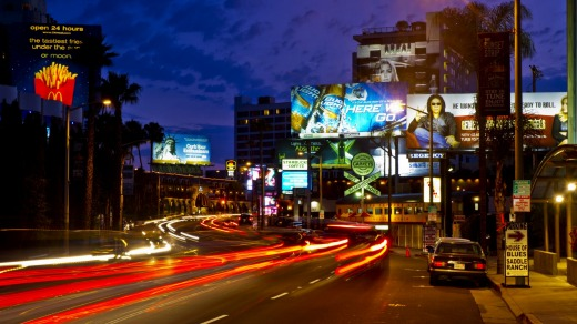 The Sunset Strip in the West Hollywood area of Los Angeles.