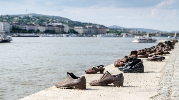 Sculpted shoes as a Memorial for Jews killed during WWII besides the Danube in Budapest.