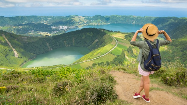 The Lagoa das Sete Cidades, which actually consists of twin lakes: one called Azul (blue), the other Verde (green).