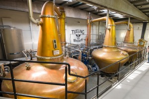 Hand crafted copper pot stills inside the Teeling Distillery, Newmarket, The Liberties.