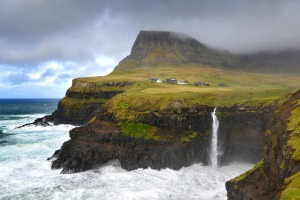 The small village Gasadalur and the Mulafossur waterfall.