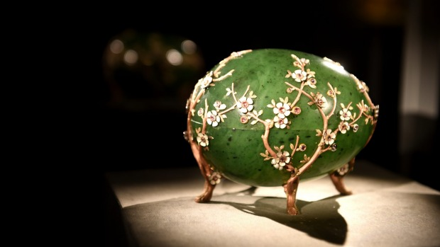 The Faberge Apple Blossom Egg on display in the Treasure Chamber in Vaduz Museum.