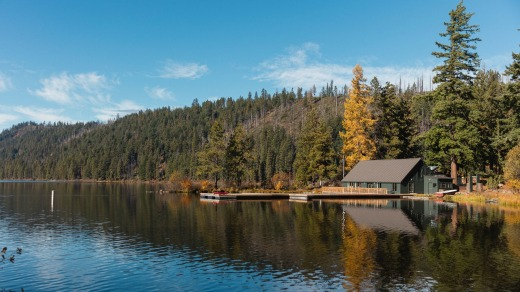 The lodge is located in Deschutes National Forest.