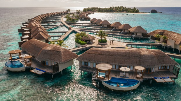The W Maldives resort includes 77 villas, 50 over-water and 27 by the beach.