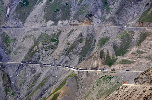 The Karakoram Highway, Pakistan: Mountain roads can be dicey due to conditions anywhere, but the Karakoram Highway ramps ...