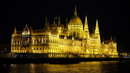 The Budapest Parliament by night.