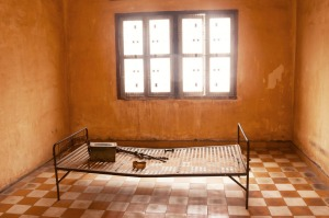 A torture bed in a prison cell at Tuol Sleng (S-21 Prison) in Phnom Penh, Cambodia.