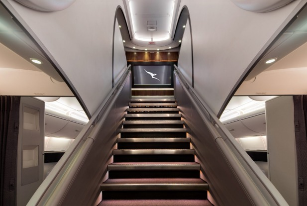 The stairs leading to the upper deck, which is now exlusive to business class and premium economy passengers.