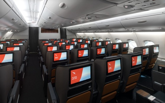 Economy class on the Qantas A380. The number of economy class seats on board has been reduced by 30.