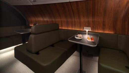 Qantas' lounge on the A380 feels like a speakeasy.