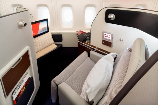 The revamped first class on board the Qantas A380.