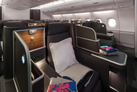 The new business class seats on board the Qantas A380. All passengers will now have direct aisle access.