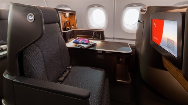 The new Qantas A380 business class. A flight from London to Sydney via Singapore creates 5.4 tonnes of carbon, versus ...