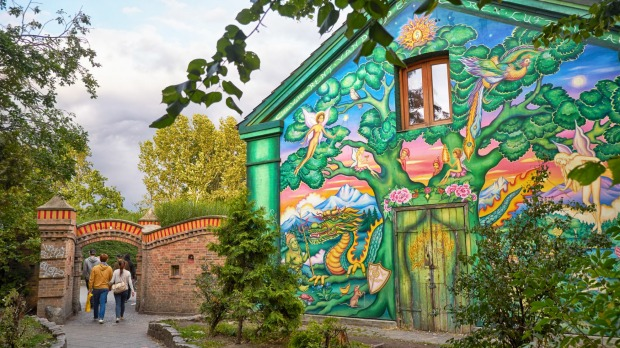 The house painted by author graffiti at the entrance to Christiania in Copengagen, Denmark.