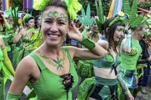 Ganja [cannabis] Fairies prepare to dance and march down the main street of Nimbin.