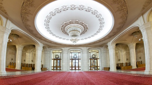 Interior of the Palace of the Parliament in Bucharest which is the capital of Romania.