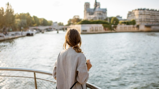 Paris riverside with a view of Notre-Dame Cathedral.