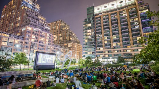 Outdoor movies in Liberty Village.