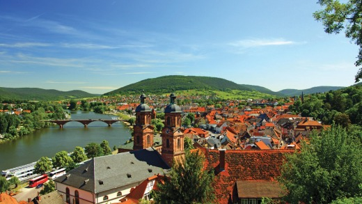 Miltenberg, a historic German town with charming half-timbered houses and cobblestone streets.