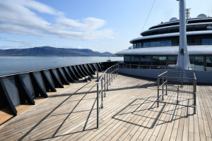 The observation deck on the luxurious ship.