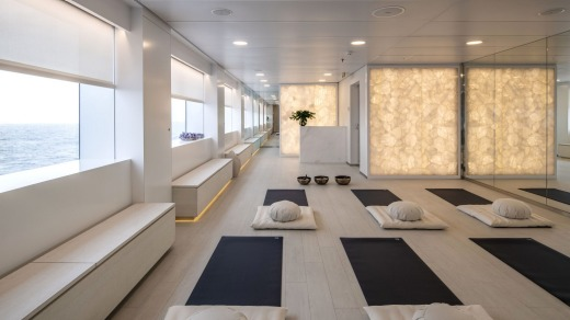 The airy yoga studio.