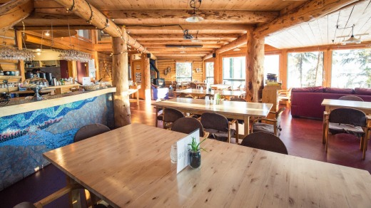 The main lodge, where guests gather for meals and hang out during the day.