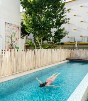 The hotel's 25-metre outdoor rooftop lap pool.
