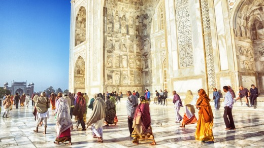 The Taj Mahal draws eight million visitors each year.