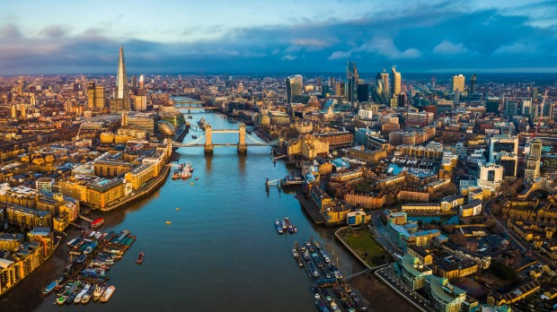 View of London's Bank District with Tower Bridge and Tower of London.