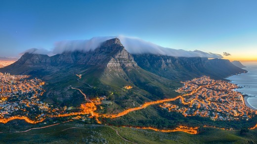 Table Mountain and the twelve Apostles, in Cape Town.