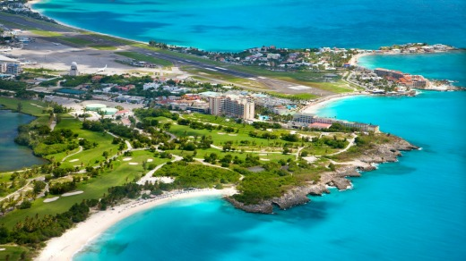 The international airport in Dutch part of St.Martin, the Caribbean.