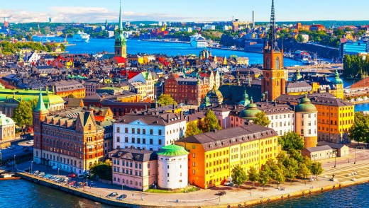 Scenic summer aerial panorama of the Old Town (Gamla Stan) pier architecture in Stockholm, Sweden ...