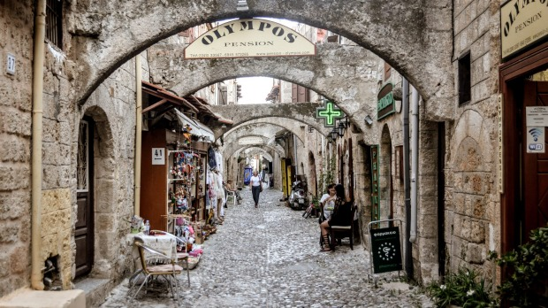 Medieval streets in Old Town of Rhodes.