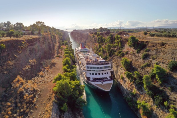 The Corinth Canal - a maximum 25 metres wide at the water's surface - connects the Gulf of Corinth with the Saronic ...