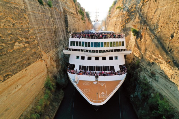 The Braemer cruise liner was so close to the sides of the 6.4 kilometre-long canal when it squeezed through on October 9 ...
