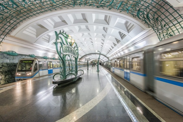 "Building of the system started in 1935, with Stalin intending the stations to be underground ""people's palaces"", and ..."
