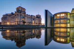 The famous Reichtsag and the Paul-Loebe-Haus at the river Spree in Berlin.