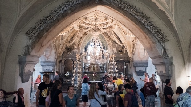 Tourists at the Sedlec Ossuary.