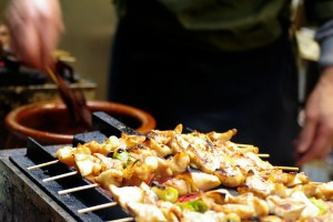 A traditional yakitori chicken stand in Tokyo.