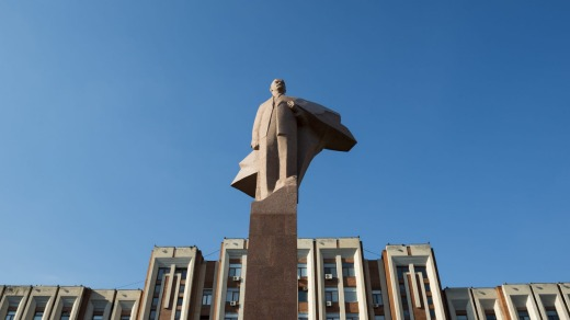 A statue of Lenin stands outside the parliament building in Tiraspol, the capital of Transnistria.