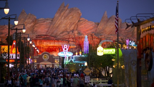 The 12-acre Cars Land attraction immerses guests in the thrilling world of the Disney and Pixar blockbuster Cars.