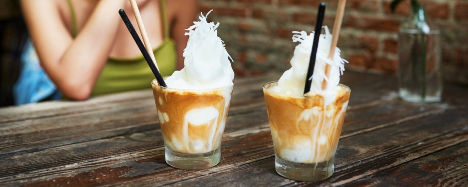 Coconut iced coffee in Vietnam.