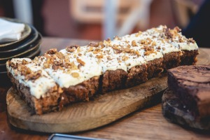 Carrot and walnut cake at Walcot House Cafe.